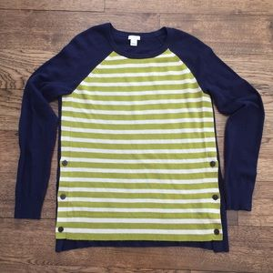 J. Crew Side Button Elbow Patch Sweater